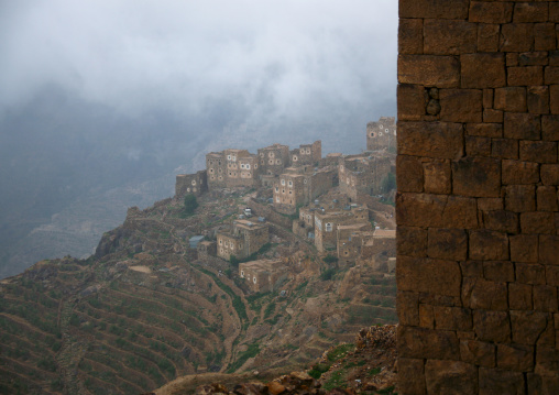 Shahara Fortified Village Above The Terrace Cultivation, Yemen
