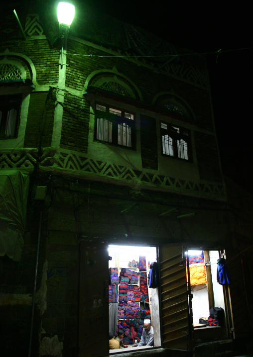 Night View Of A Clothes Shop Under A Green Light, Sanaa, Yemen