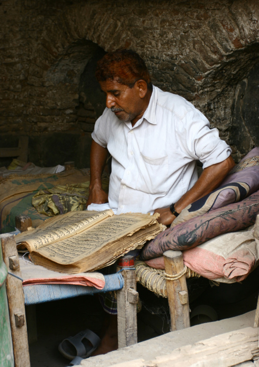 Man With Henna Hair Reading The Quran, Zabid, Yemen