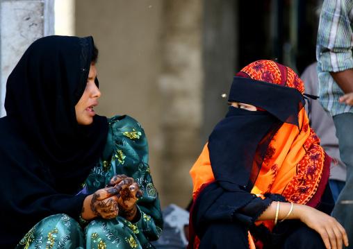 Two Veiled Women Chatting, Sanaa, Yemen