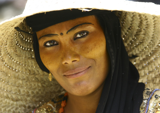 Portrait Of A Woman With Painted Eyebrows And Wearing A Straw Hat, Jebel Saber, Taiz, Yemen