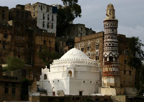 View Of Jibla Qubbat Bayt Az Zum White Mosque, Yemen
