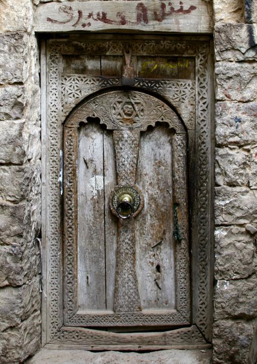Artistically Carved Old Jewish House Wooden Door, Yemen