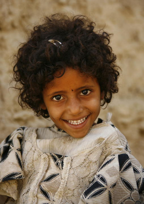 Smiling Amran Girl With Frizzy Hair, Yemen