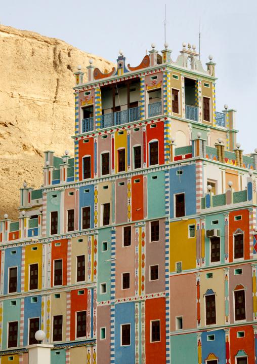 Colourful  Buqshan Khaila Hotel, Wadi Doan, Hadramaut, Yemen