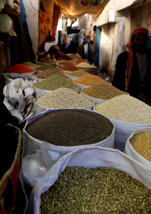 Lentils And Beans In The Souq Of Sanaa, Yemen