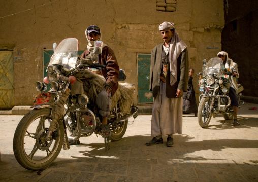 Men Posing On Their Motocycle,  Amran, Yemen