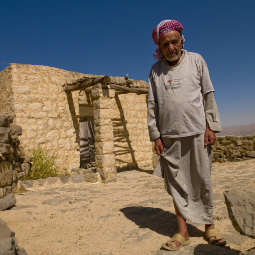 Iman In Front Of The Old Mosque In Kholan, Yemen