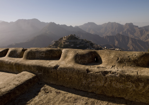 Roof Overlooking The City Of Hajja And The Mountains Surrounding It, Hajja, Yemen