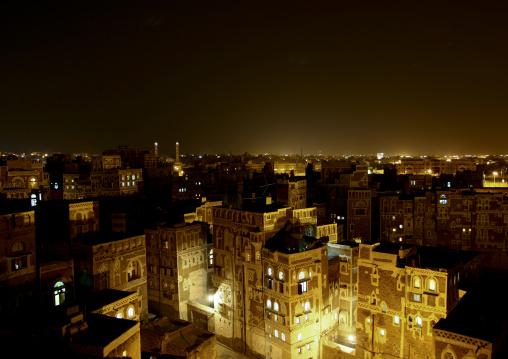 Night View Of Storeyed Tower Houses Built Of Rammed Earth, Sanaa, Yemen