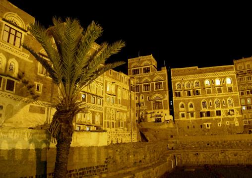 Night View Of Storeyed Tower Houses Built Of Rammed Earth, Sanaa City, Yemen