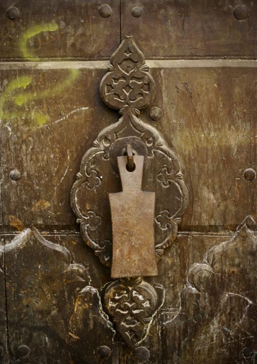 Detail Of A Wooden Door And Its Door Knocker, Sanaa, Yemen