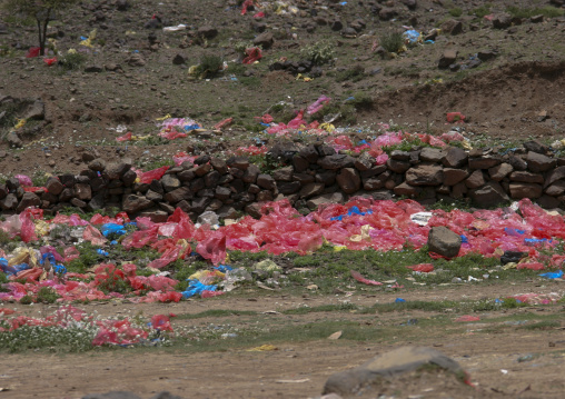 View Of The Colourful Plastic Bags Used For Qat, Ibb, Yemen