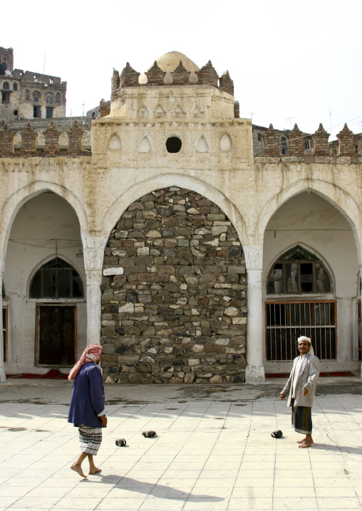 Men Going To The Prayer In Ibb Mosque, Yemen