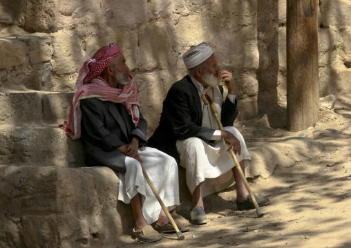 Old Men Sitting On A Bench, Wadi Dhar, Yemen