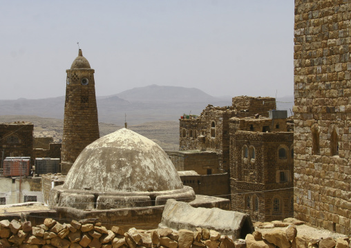Roof Of A Mosque And Minaret, Hababa, Yemen