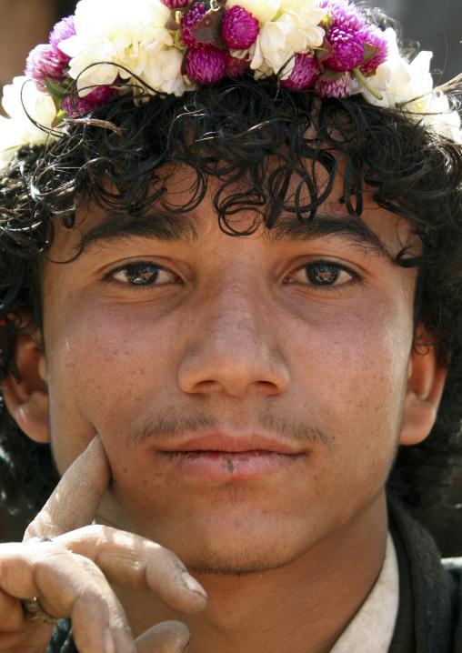 Portrait Of A Young Flower Man, Yemen