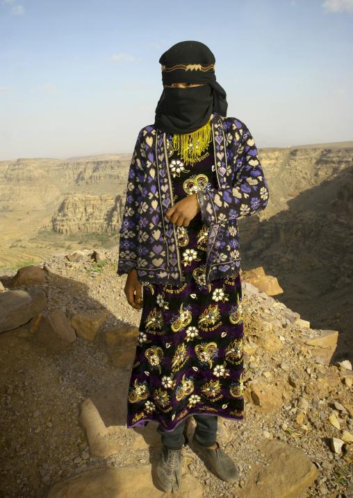 Teenage Girl Standing On The Mountain, Hababa, Yemen