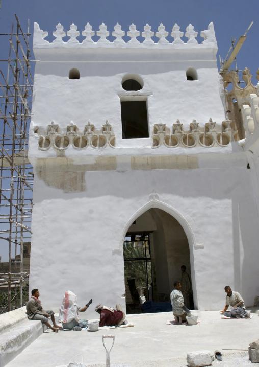 Men Renovating Al Amiriya Mosque In Rada, Yemen