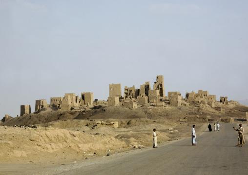 Men On The Road To Marib Old Town, Yemen