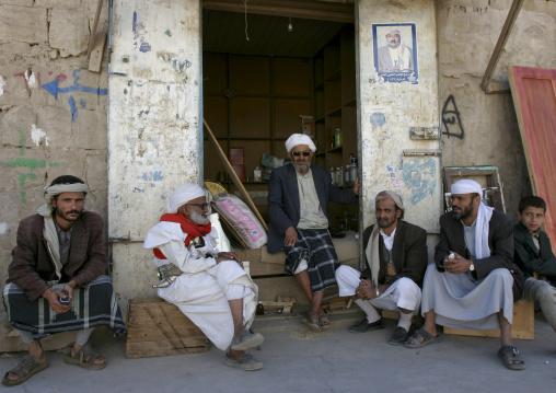 Men Gathered In Front Of A Shop, Rada, Yemen