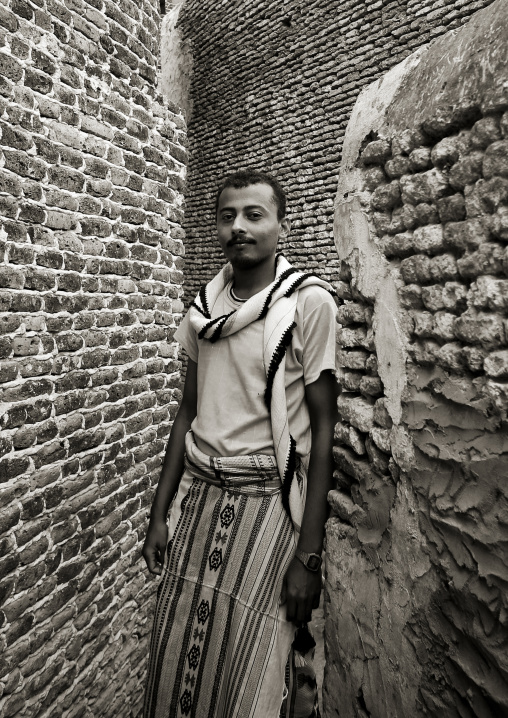 Man Standing In A Very Narrow Street, Zabid, Yemen