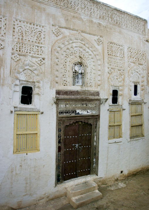 Traditionally Sculpted Front Of A House In Zabid, Yemen