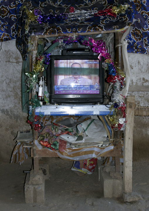 Televison With  Decorations In A Restaurant, Yemen