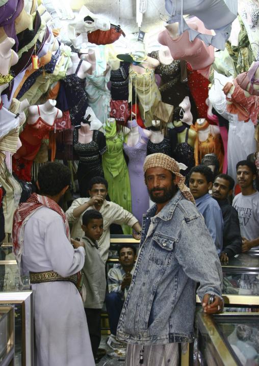 Men Gathering In A Women Clothes Shop In Al Hodeidah Souq, Yemen