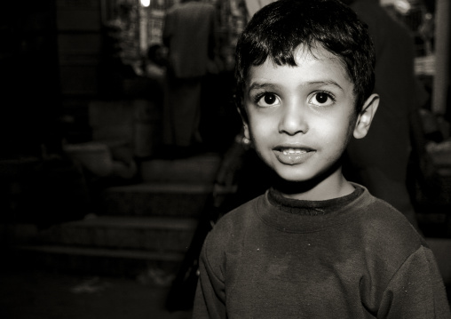 Black And White Portrait Of A Yemeni Boy With Big Black Eyes, Al Hodeidah, Yemen