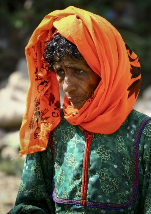Old Woman With Orange Scarf, Jebel Saber, Taiz, Yemen