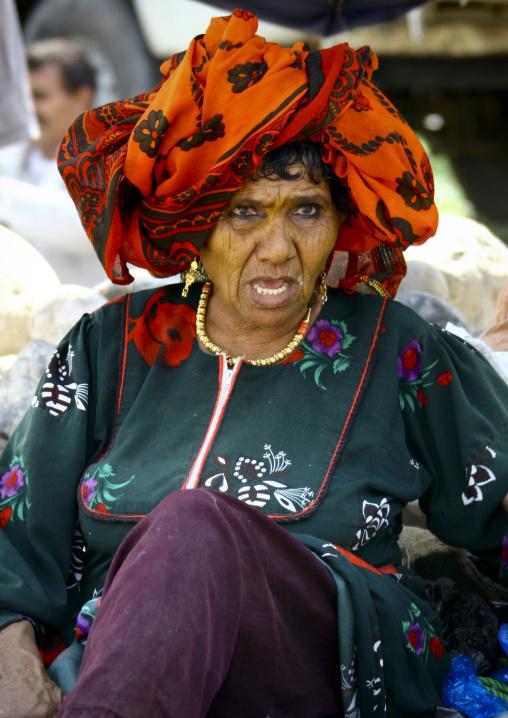 Old Woman With Orange Scarf, Jewels And Kohl, Jebel Saber, Taiz, Yemen