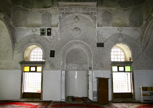 Sculpted Wall Over The Mihrab, Indicating The Direction Of The Kabaa In Mecca, Inside A Mosque, Taiz, Yemen