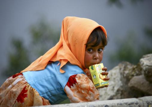 Little Girl Sipping Fruit Juice, Manakha, Yemen