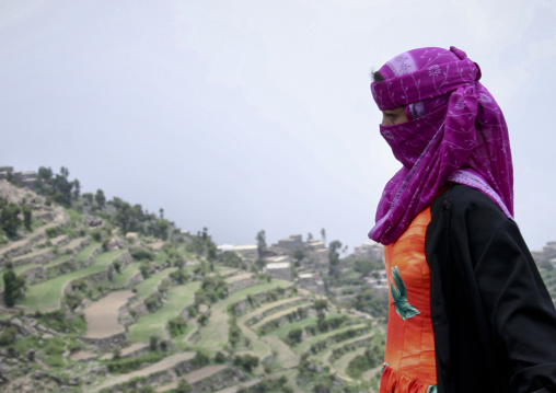 Profile Of A Young Veiled Woman And Terrace Cultivation In The Background, Manakha, Yemen