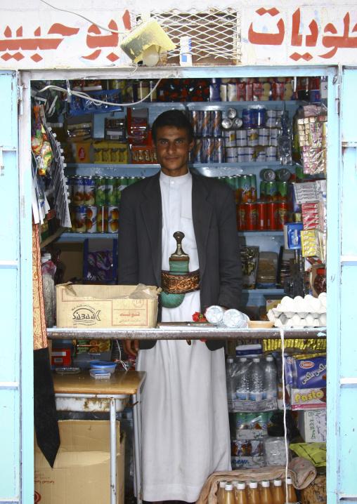 Salesman In His Shop In Al Hajjara, Yemen