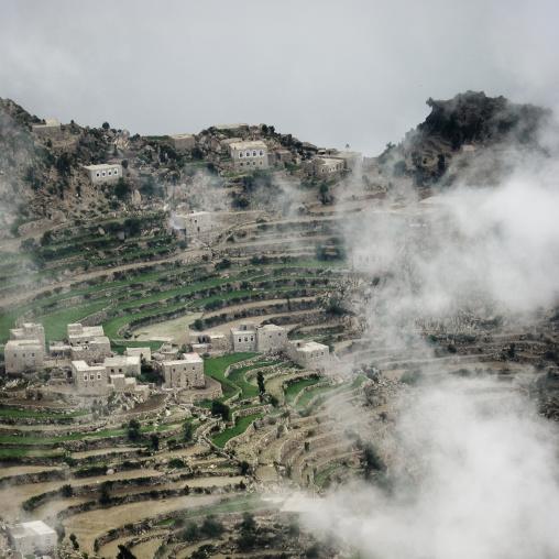 Clouds, Village And Terrace Cultivation, Al Hajjara, Yemen