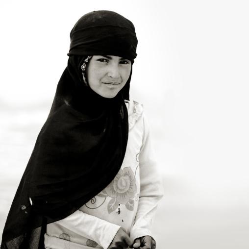 Black And White Portrait Of A Girl Wearing A Niqab, Al Hajjara, Yemen