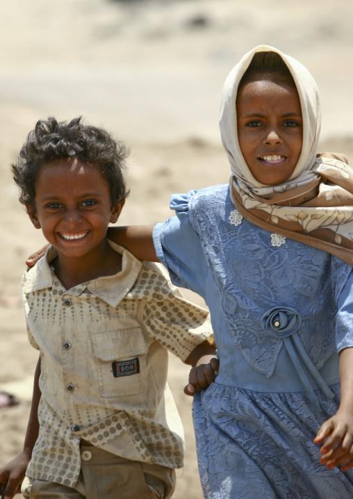 Smiling Children Running, Mocha, Yemen