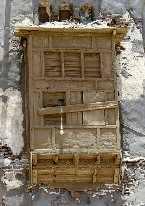 Mashrabiya With A Small Light Bulb Coming Through, Mocha, Yemen