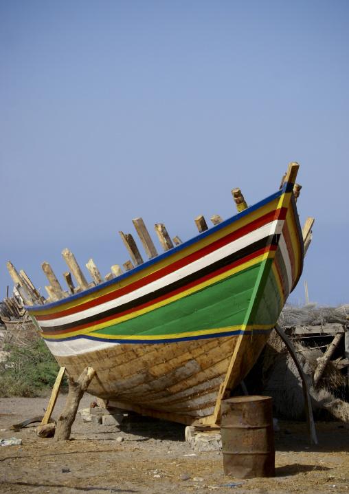 Colourful Dhow In  Drydock, Al Khukaha Harbor, Yemen