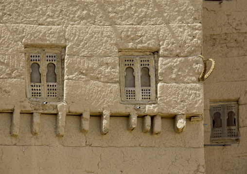 Wooden Windows On A Adobe And Painted Building Wadi Doan, Yemen