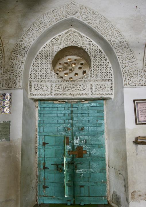 Sculpted Porch Over A Turquoise Door In A Mosque, Zabid, Yemen