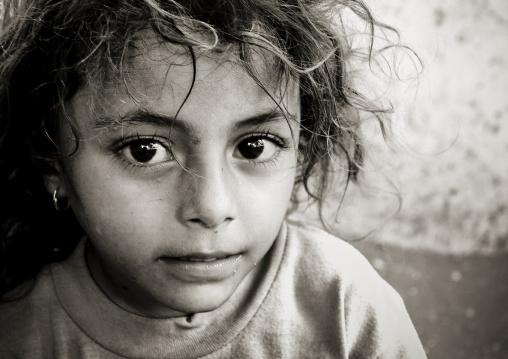 Black And White Portrait Of A Yemeni Little Girl With Big Dark Eyes, Yemen