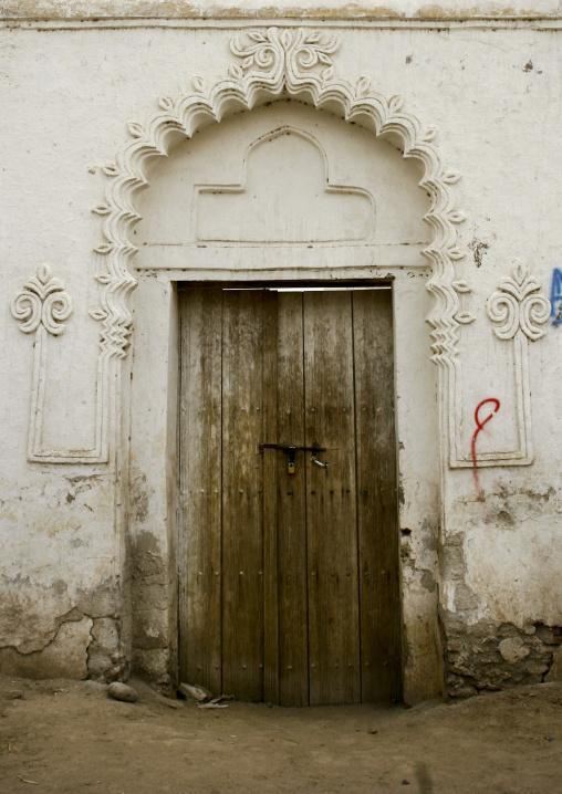 Sculpted Porch Over A Wooden Door, Zabid Yemen