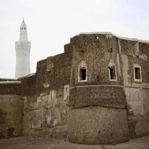 White Minaret And External Wall Of A Mosque In Zabid, Yemen