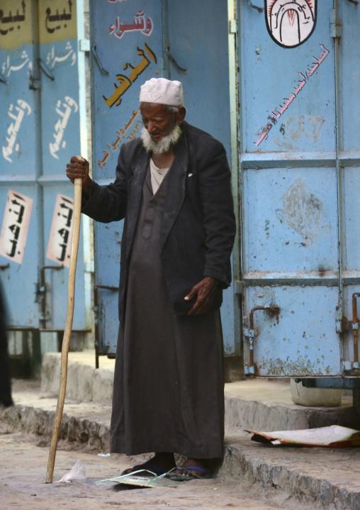 Blind Old Man Standing In The Street, Al Hodeidah, Yemen