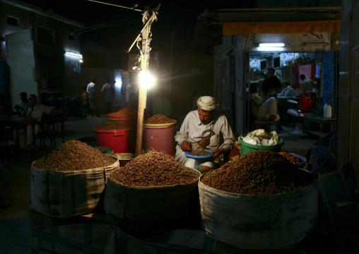 Man Selling Dry Fruits In The Souq, Al Hodeidah, Yemen