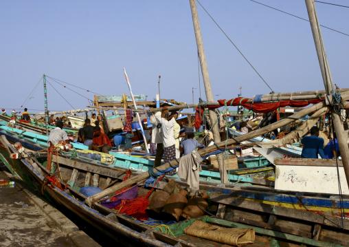 Fishermen And Their Dhows In Al Hodeidah, Yemen