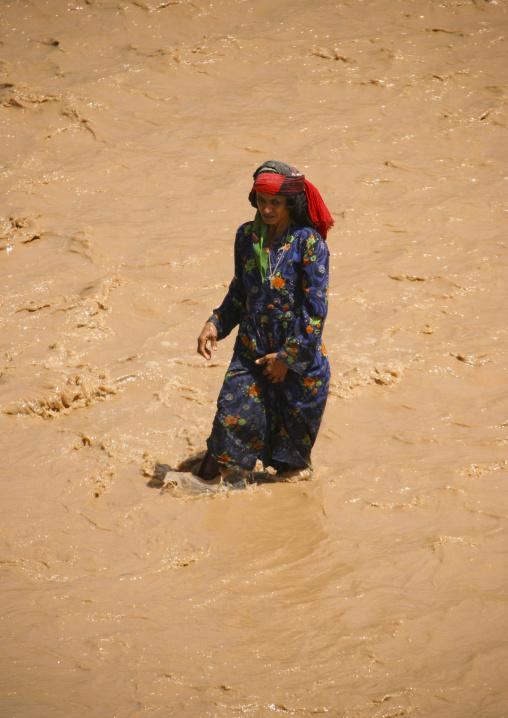 Old Woman Crossing A Wadi, Tihama, Yemen
